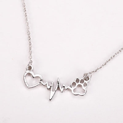 Chic HeartBeat Paw Print Pendant Chain Necklace - DogBlabShop