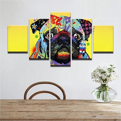 Colorful Pug 5 Pieces Canvas Wall Art - DogBlabShop