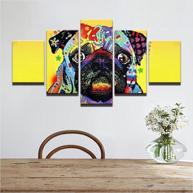 Colorful Pug 5 Pieces Canvas Wall Art
