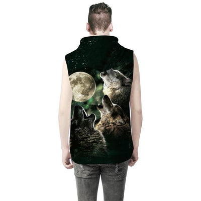 3D  Howling Wolf-Dogs and Luna Sleeveless Hoodie Shirt