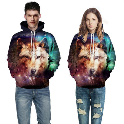 3D Galaxy Wolf-Dog Hoodies