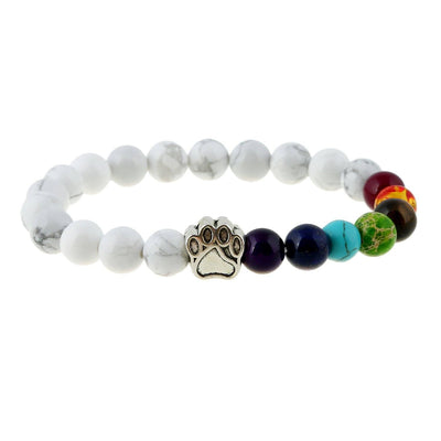 Elastic Rainbow Yoga Bead Bracelets with Cute Paw Print Charm for Men and Women - DogBlabShop