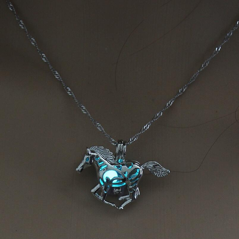 Glow in the Dark Running Horse Pendant Necklaces