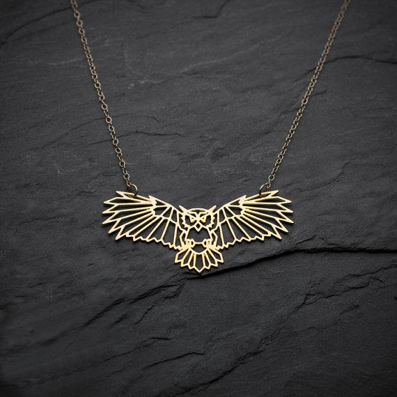 Unique Gold Owl Necklace for Women