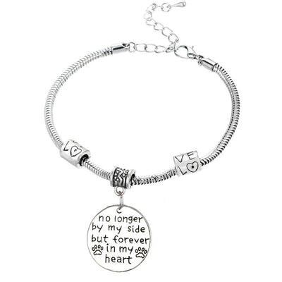 No Longer By My Side But Forever In My Heart Charm Bracelet Free + Shipping-Charm Bracelets-DogBlabShop
