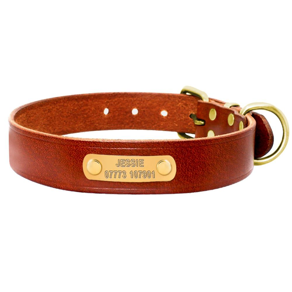 personalized dog leather collar genuine leather engraving
