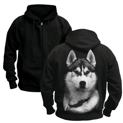 Siberian Husky Hooded Jacket-Men and Women's Apparel-DogBlabShop
