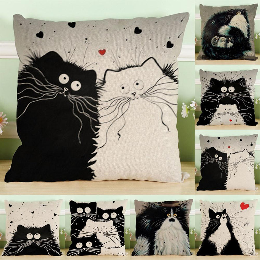 Curious Cats Quality Throw Pillow Cases