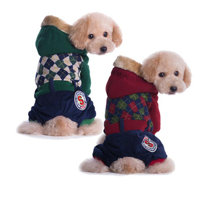 Plaid Winter Dog Coat For Small Dogs 100% Cotton-Dog Coats & Jackets-DogBlabShop