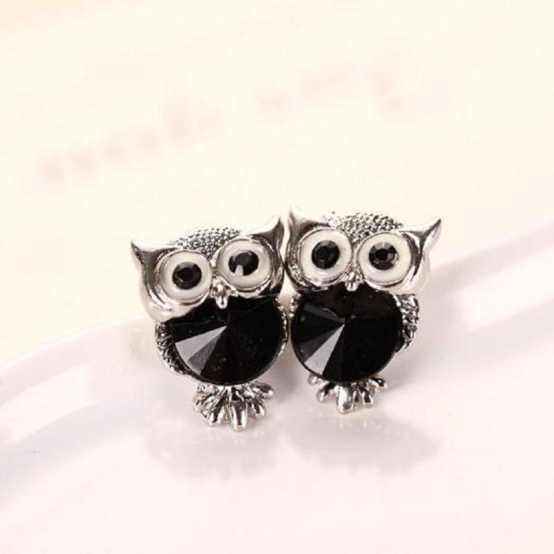 Crystal Owl Stud Earrings for Women