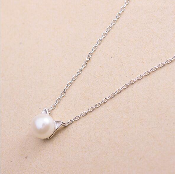 Pearl Cat Charm Necklaces for Women