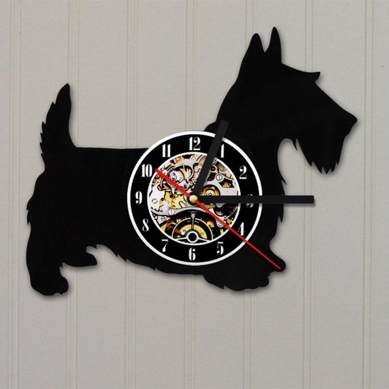 Scottish Terrier Vinyl Record Wall Clock
