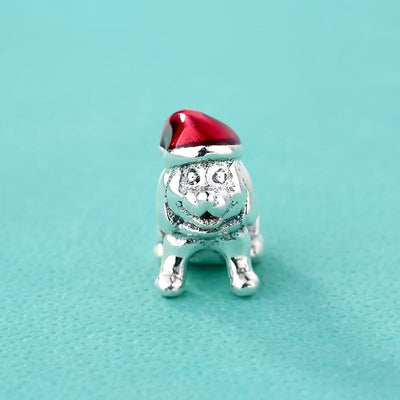 925 Sterling Silver Cute Dog Charm Bead - Red Christmas Hat Charms