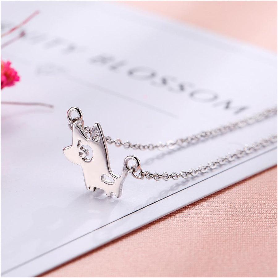 Sweet Cartoon Dog Pendant and Chain Necklace for Women