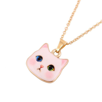 Cute White Cat Head Pendant Necklace