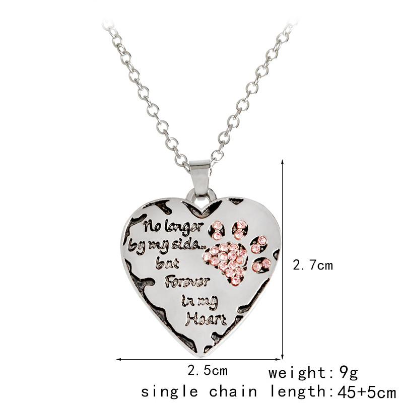 """No Longer By My Side, But Forever In My Heart"" Heart Shape Pendant Necklace With Cute Paw Print"