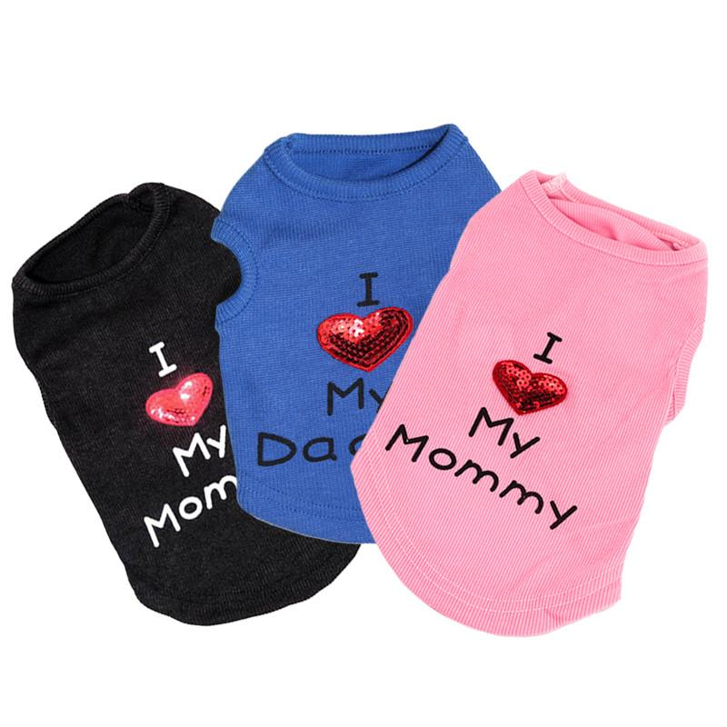 "Small Dog Quality T-shirts - ""I Love My Mommy"" and ""I Love My Daddy"""