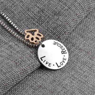 Live, Love, Rescue With A Beautiful Paw Print Beautiful Necklace-Chain Necklaces-DogBlabShop