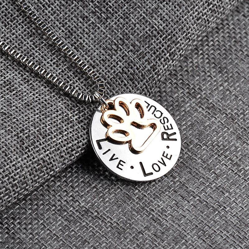 Live, Love, Rescue With A Beautiful Paw Print Beautiful Necklace