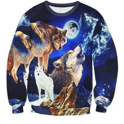 3D 3 Dog-Wolves and a Moon Sweatshirt
