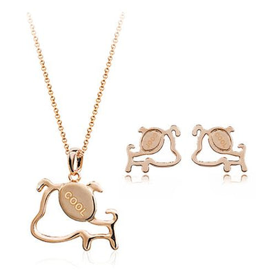 Cool Dog Pendant Necklace and Stud Earrings Set for Women