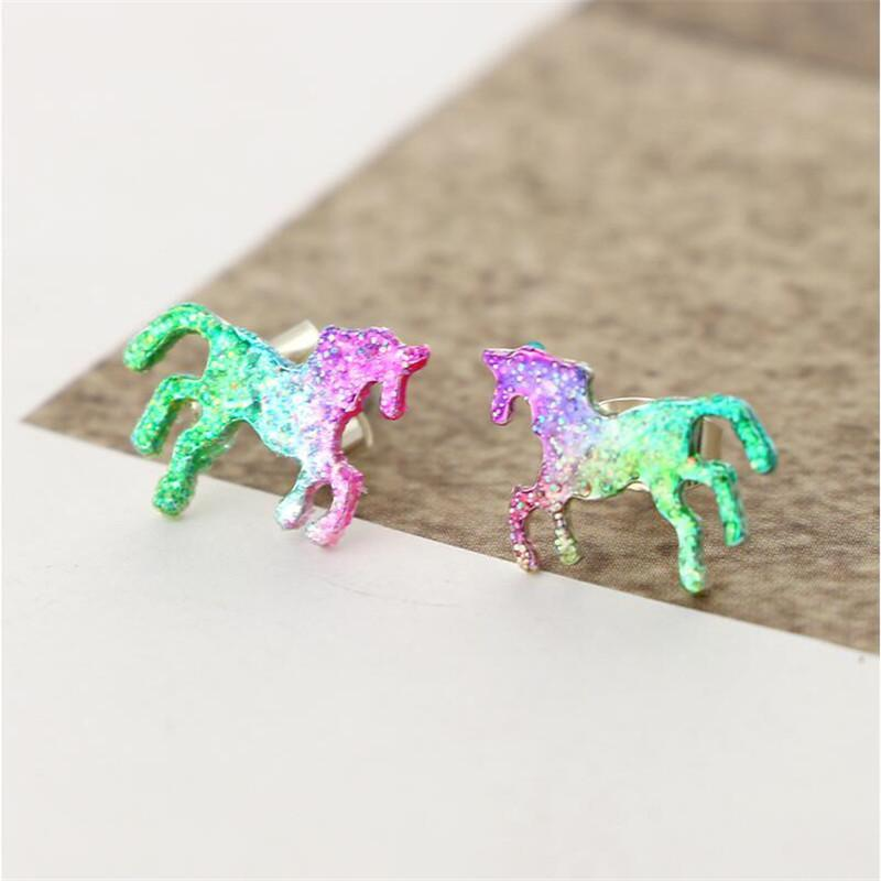 Sparkly Enamel Unicorn Stud Earrings for Women