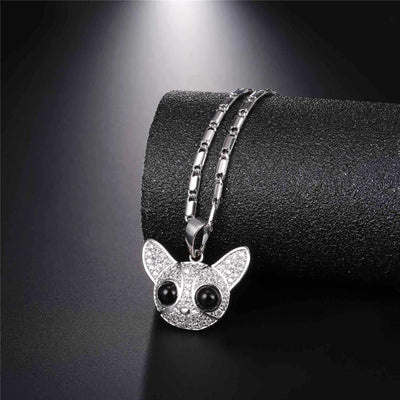 Full Crystal Chihuahua Pendant Necklace Gold/Silver Color Cubic Zirconia