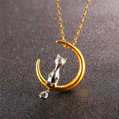 Moon And Cute Cat Pendant With Chain Silver & Gold Colors in Stainless Steel - Fashion Necklaces