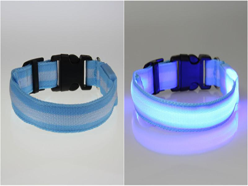 LED Glowing Nylon Collar -  Night Safety Collars Free + Shipping