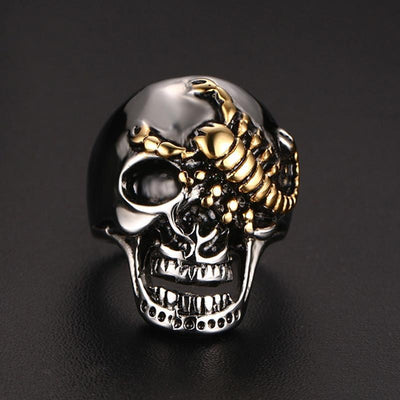 Gold Scorpion on a Silver Skull Rings for Men