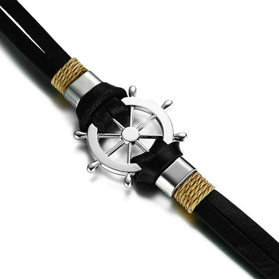 Sailor's Wheel Charm Leather Bracelet for Men