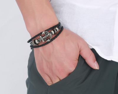 Anchor Charm Leather Bracelet for Men