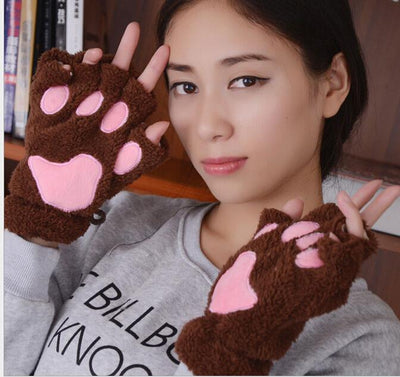 Ladies Winter Fingerless Gloves, Fluffy Bear, Cat Plush Paw Claw