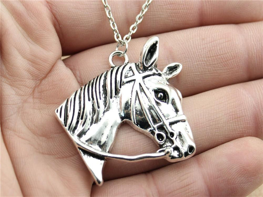 Antique Silver Horse Head Pendant Chain Necklace