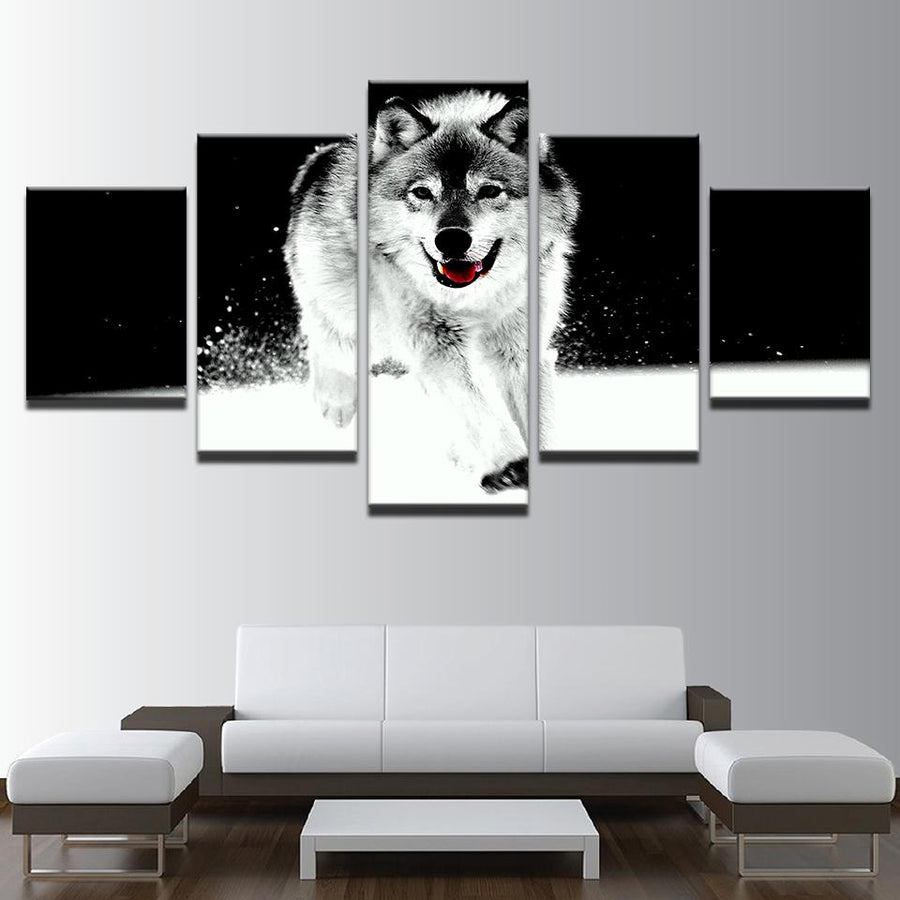 Black and White Wolf-Dog in Snow Canvas Wall Art