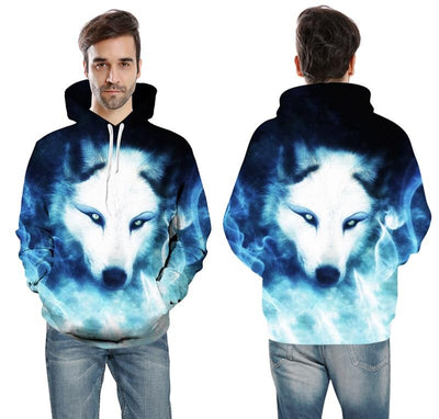 3D Ghostly Wolf-Dog Hoodie Sweatshirt