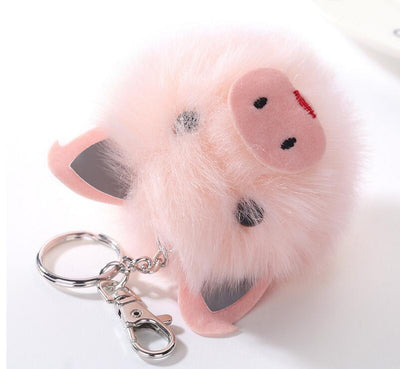 Fluffy Pig Head Key Chains