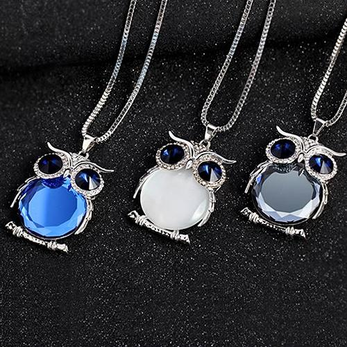Crystal Owl Pendant and Silver Chain Necklaces for Women