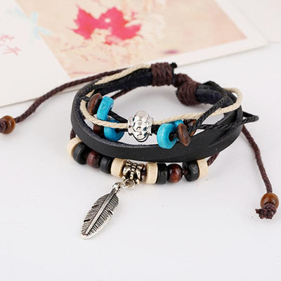 Feather Charmed Leather Bracelet