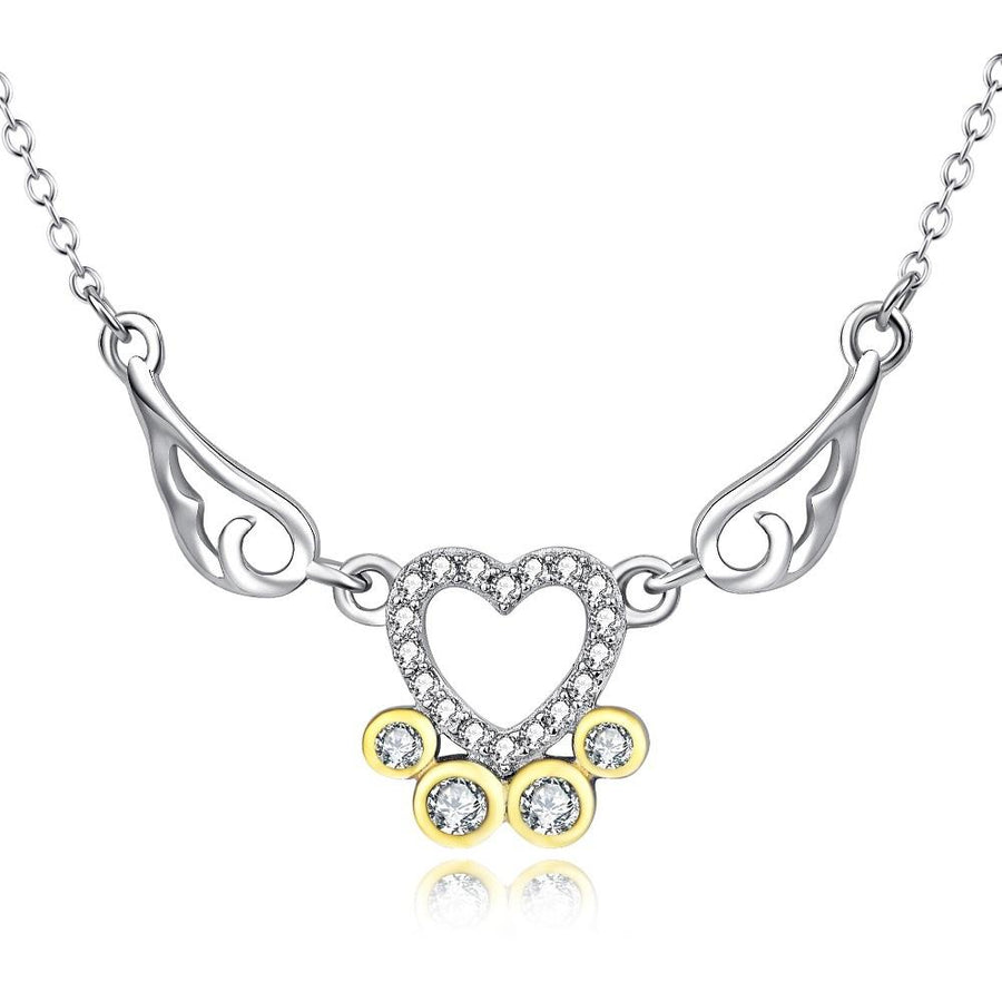 Attractive Angel Wings and Heart Paw Print Pendant Necklace for Women