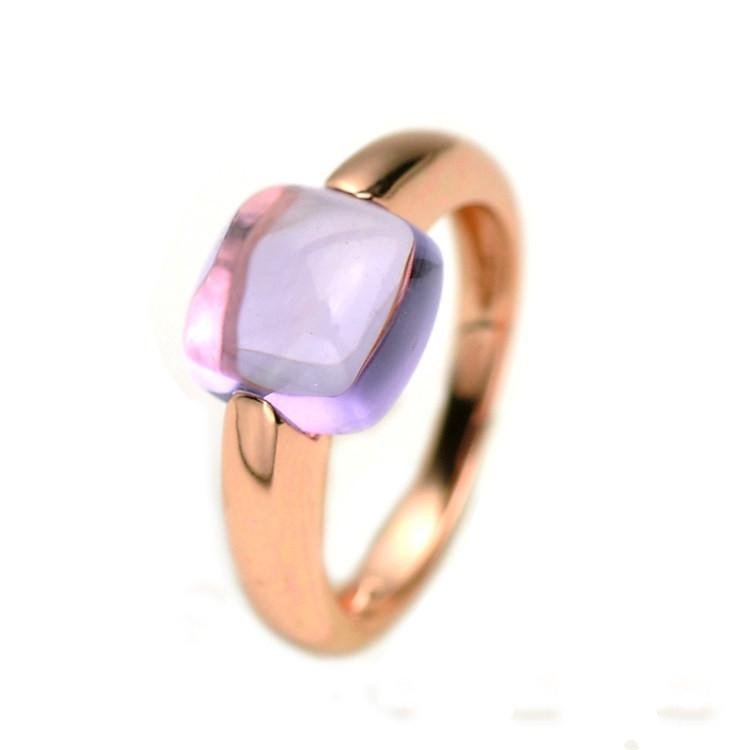 18K Rose Gold Unique Amethyst Rings for Women