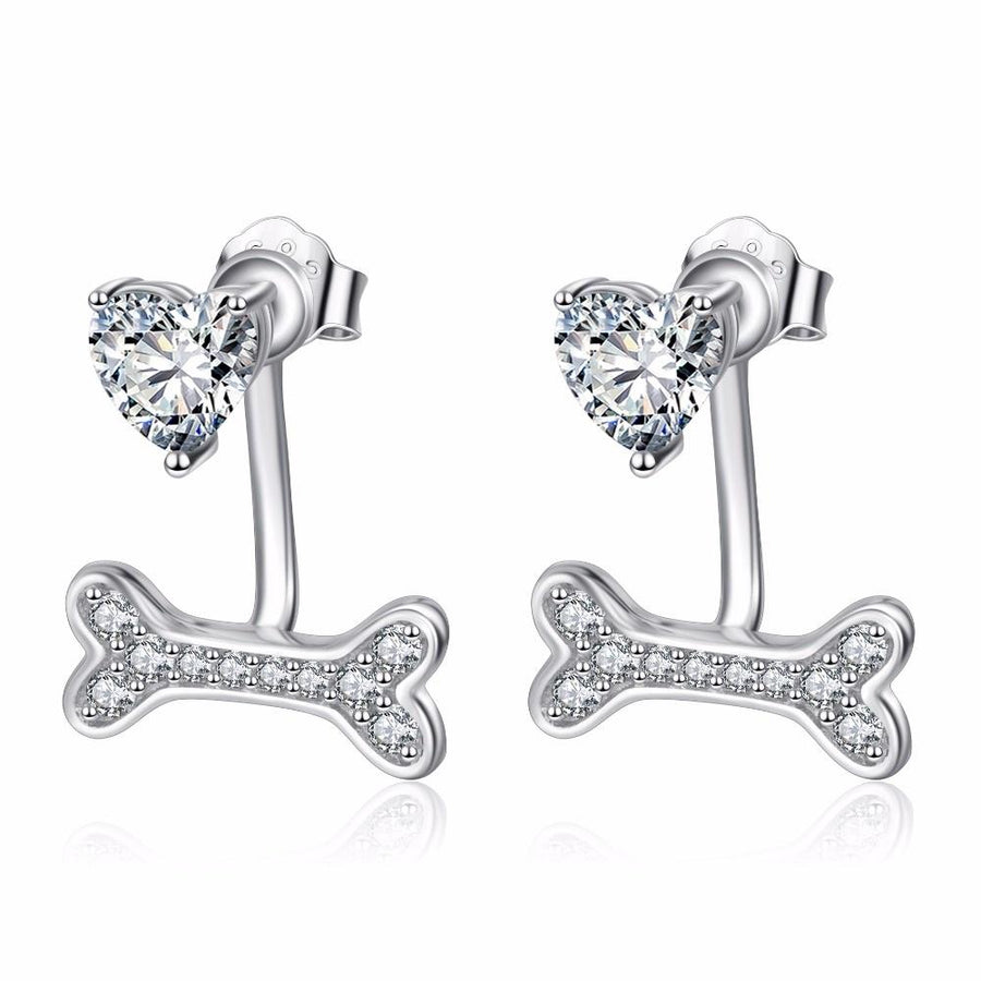Heart and Bone Earrings with Cubic Zirconia Stones for Women