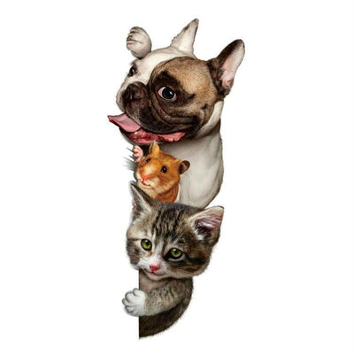 3D Cat Dog and Mice Wall Stickers - DogBlabShop