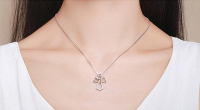 925 Sterling Silver Guardian Angel Heart Pendant Necklaces for Women
