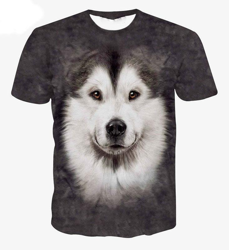 3D White and Gray  Wolf-Dog T-Shirt