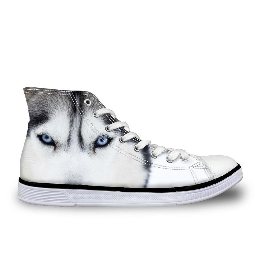 3D Wolf-Dog High-Cut Canvas Shoes