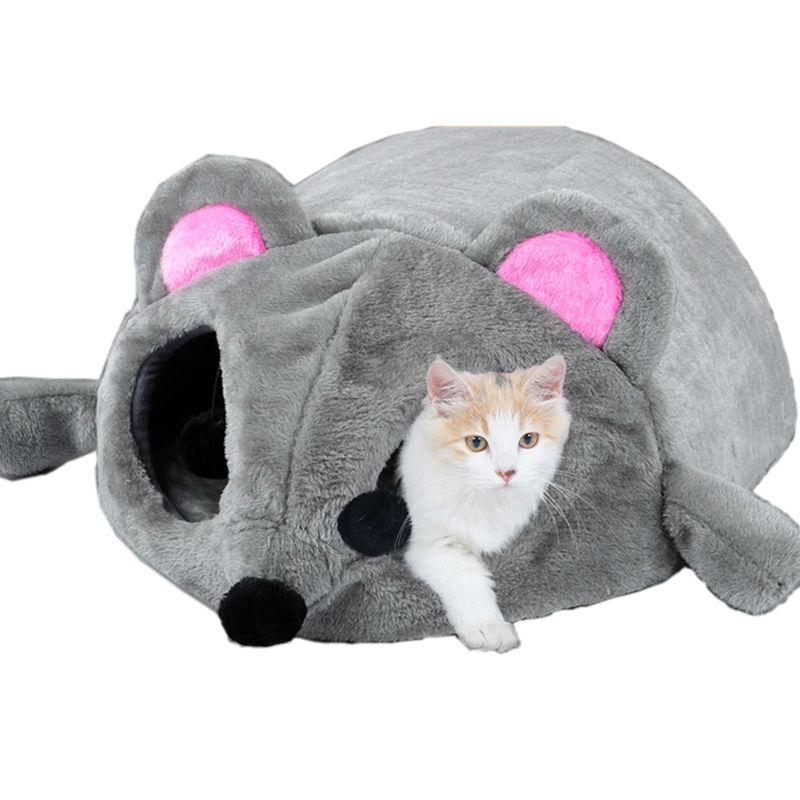 Large Gray Mouse Bed for Cats and Small Dogs