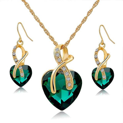 Crystal Heart Necklace and Drop Earrings Set for Women