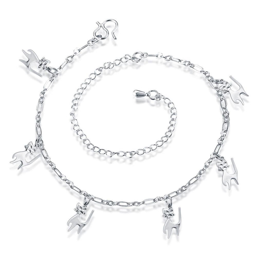 Cat Charmed Anklet in Gold and Silver for Women