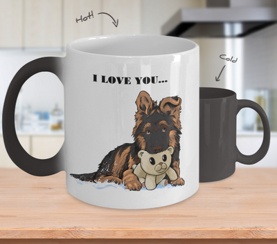 Color Changing Cup GSD Puppy with Teddy bear